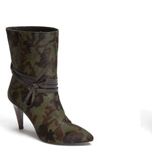 Nine West Painted Heart Green Camo Ankle Boot